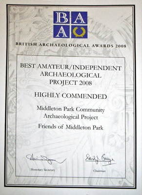 British Archaeological Awards Highly Commended Certificate